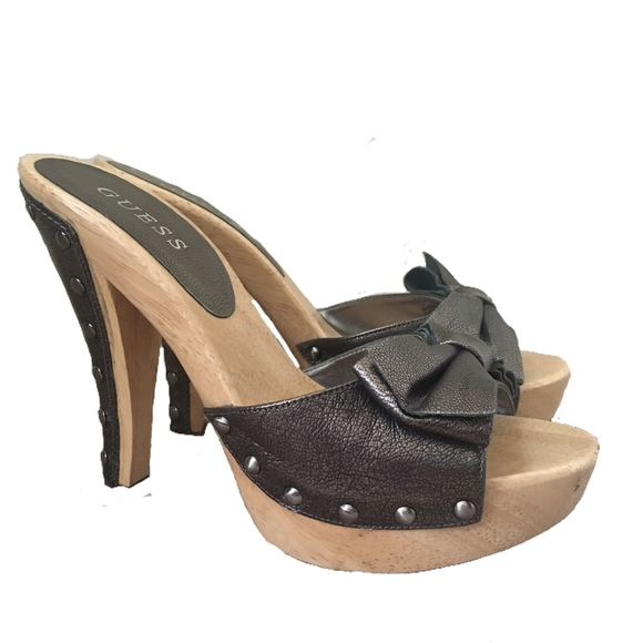GUESS Veronica Leather & Wood Studded Slide Heels